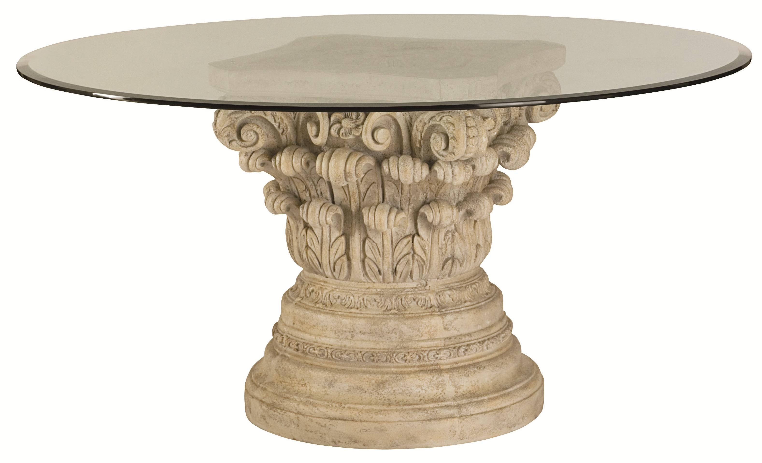 American Drew Jessica McClintock Home - The Boutique Collection Glass Top Round Dining Table - Item Number: 217-702R