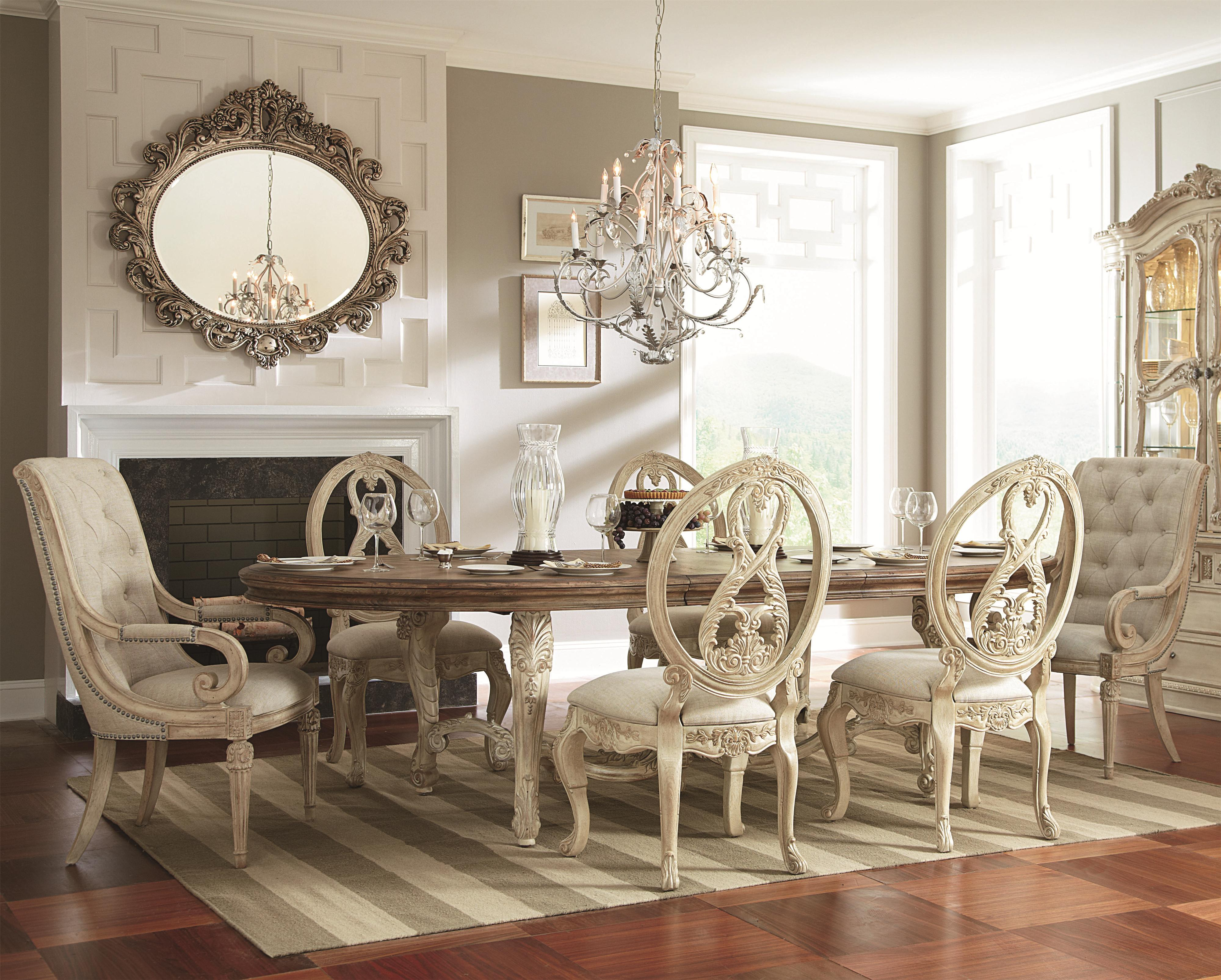 American Drew Jessica McClintock Home - The Boutique Collection 7 Piece Dining Table Set - Item Number: 217-746R+2x637W+4x622W