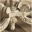 American Drew Jessica McClintock Home - The Boutique Collection Oval Dining Table with Carved Legs & Stretchers - 217-746R - Detail of Stretcher with Meticulous Carved Motifs & Patterns