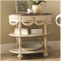 American Drew Jessica McClintock Home - The Boutique Collection Oval Tiered Accent Table with Draped Detailing