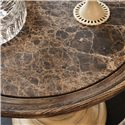 American Drew Jessica McClintock Home - The Boutique Collection Pedestal End Table with Revival Top - 217-918W - Detail of Marble Insert Table Top
