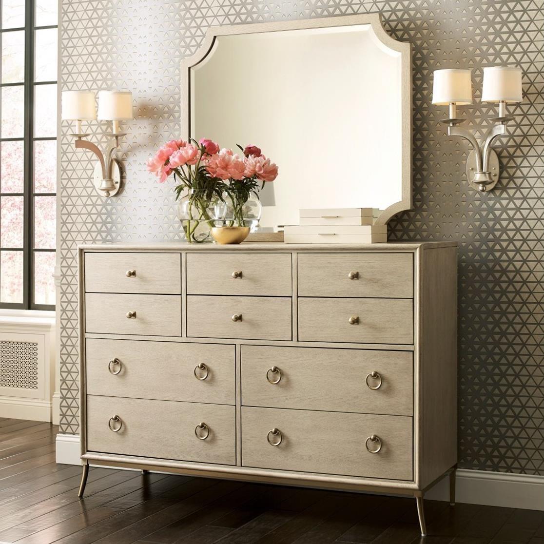 American Drew Lenox Ventura 10 Drawer Dresser And Mirror Set Lindy S Furniture Company Dresser Mirror Sets