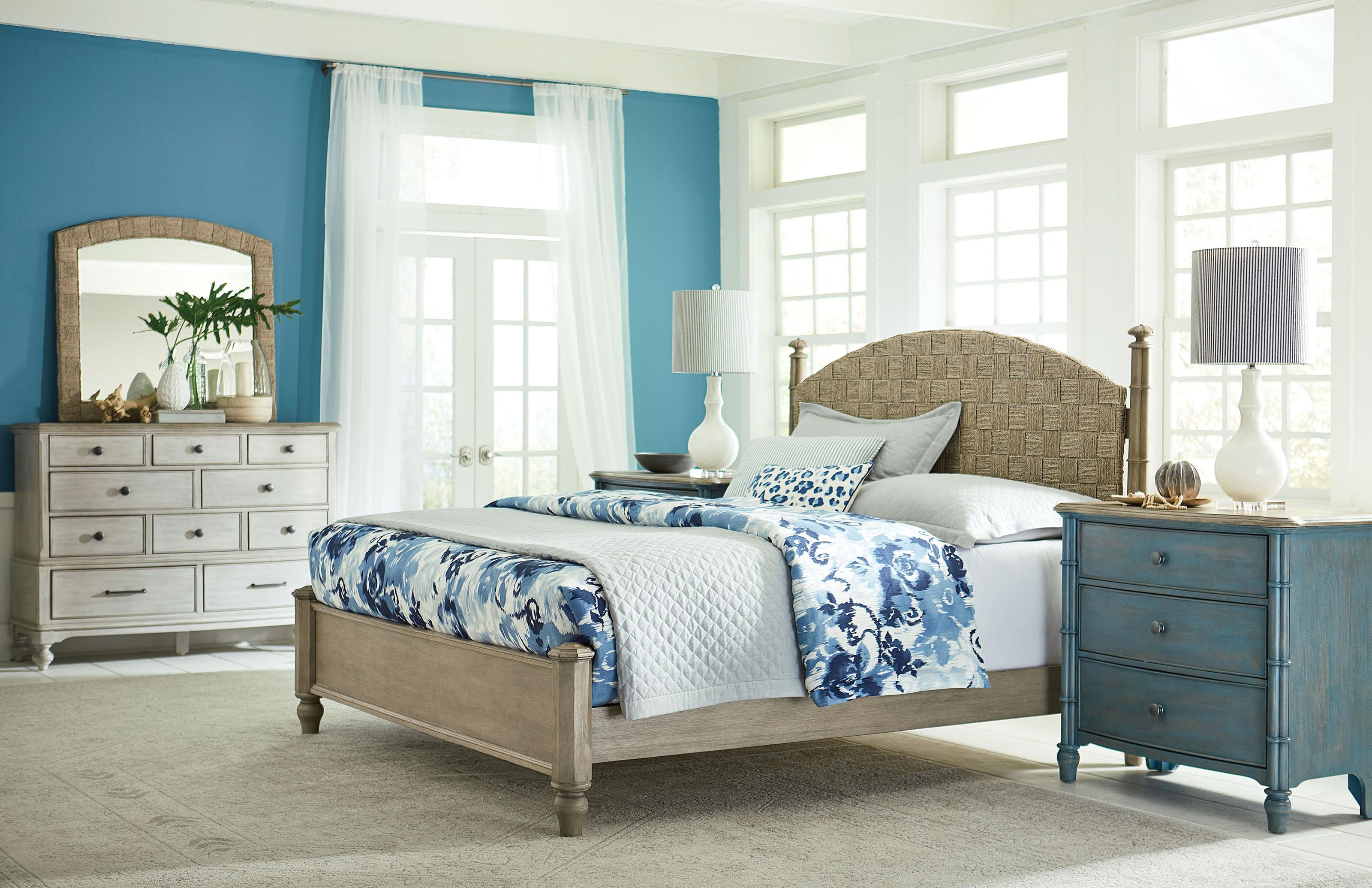Litchfield Queen Bed Set, Nightstand, Dreser and Mirror by American Drew at Johnny Janosik