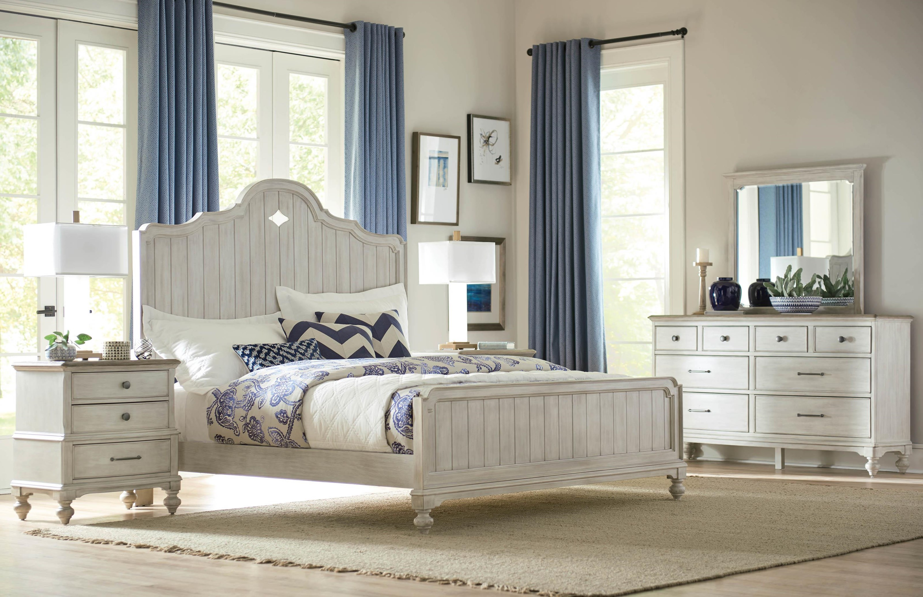 Litchfield Queen Bed, Nightstand, Dresser and Mirror by American Drew at Johnny Janosik