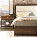American Drew Miramar California King Upholstered Bi-Cast Leather Bed with Smoky Brown Trim - 218-307R - Shown with 1 Drawer Nightstand