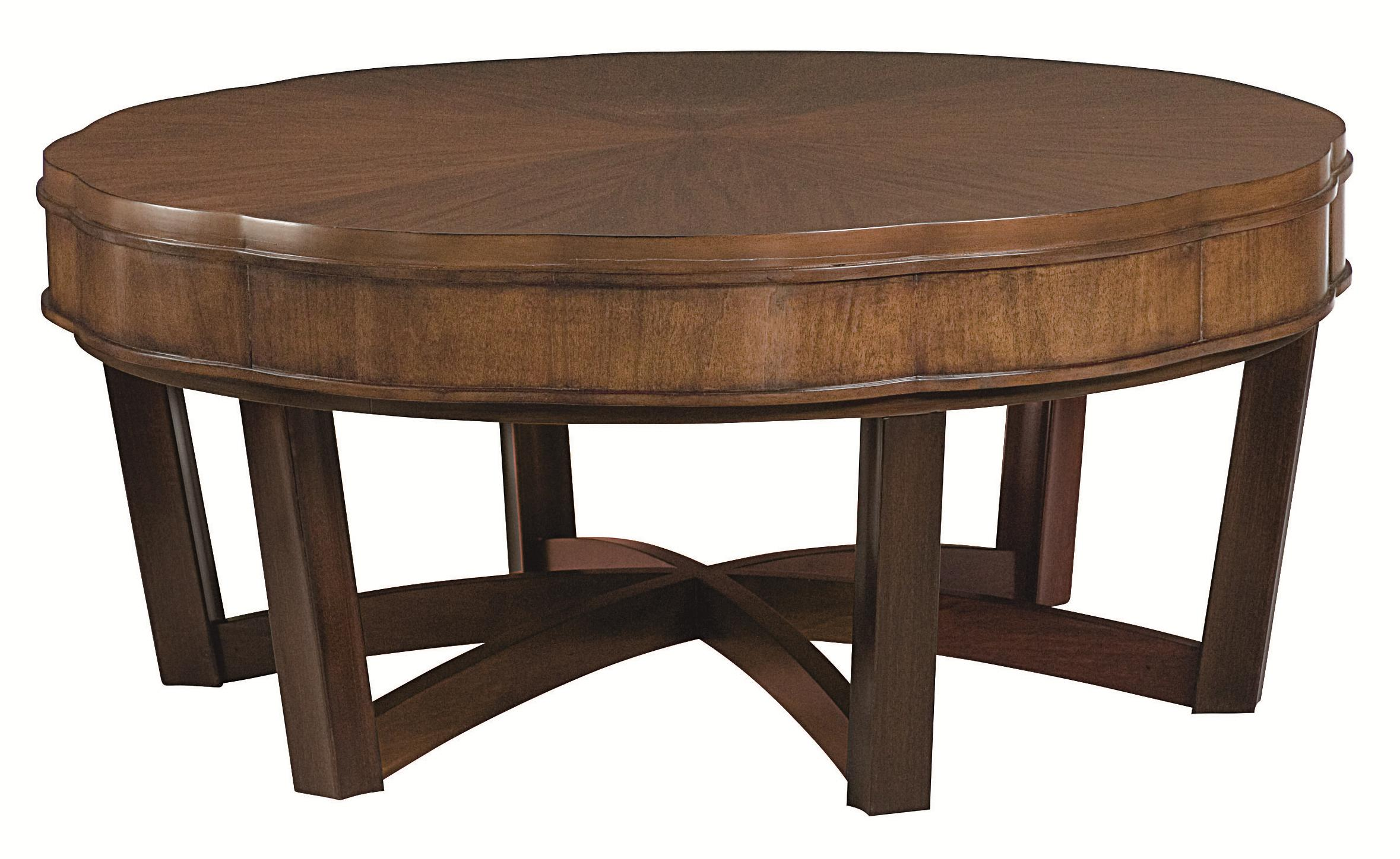 American Drew Miramar Round Cocktail Table With Smoky Brown Base   AHFA    Cocktail Or Coffee Table Dealer Locator