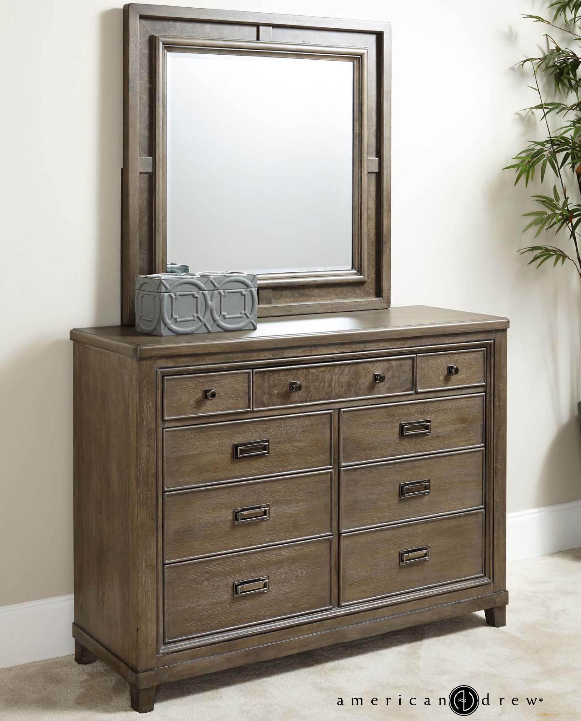 American Drew Park Studio Dresser and Mirror Set - Item Number: 488-030+131