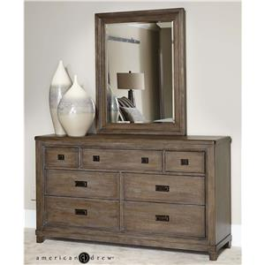 American Drew Park Studio Dresser and Mirror Set
