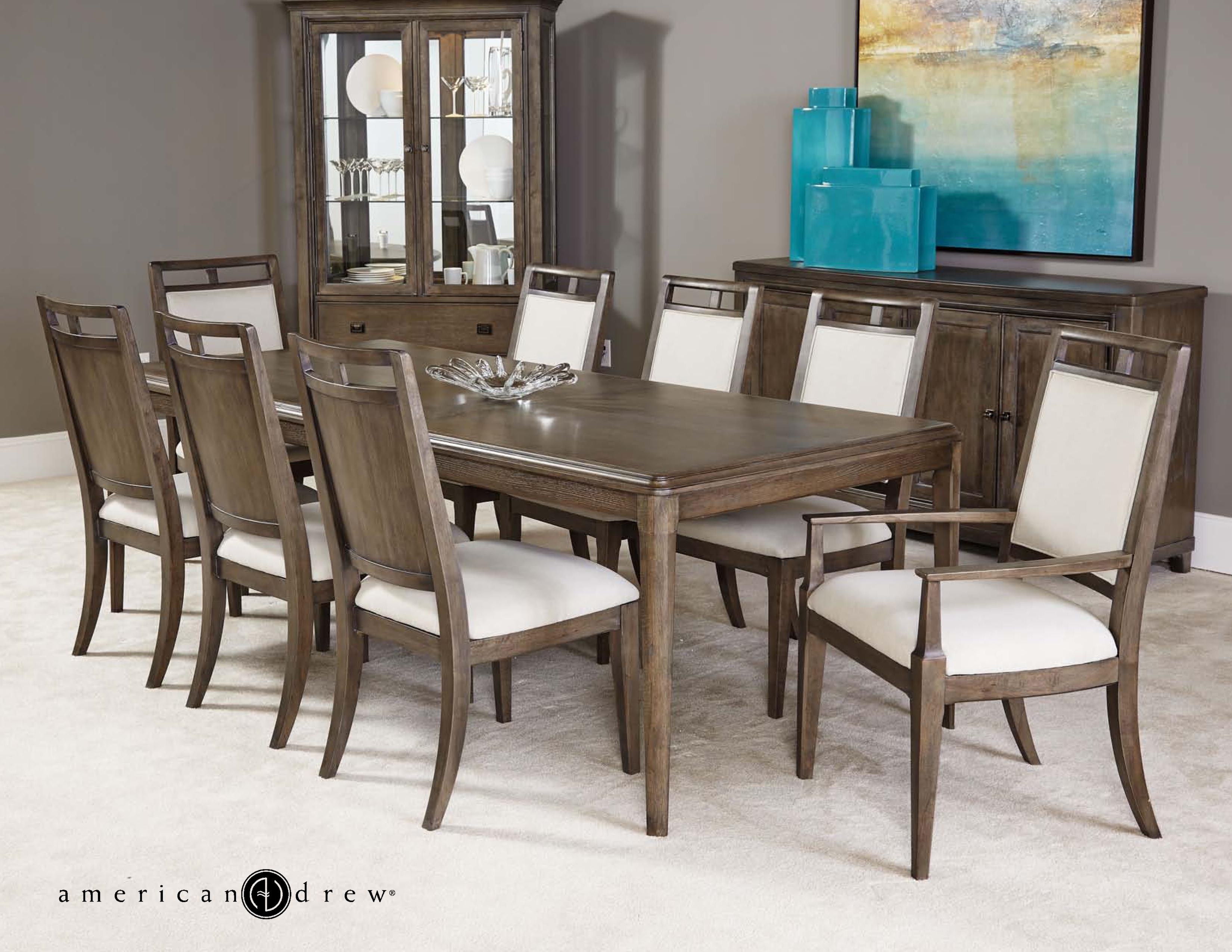 Fabulous Park Studio Contemporary 9 Piece Dining Room Table Set With Upholstered Chairs By American Drew At Stoney Creek Furniture Home Interior And Landscaping Mentranervesignezvosmurscom