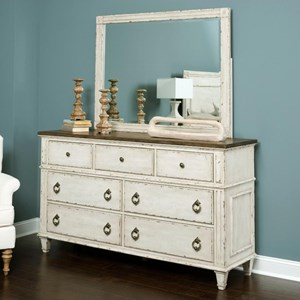 Dresser and Mirror with Wood Frame