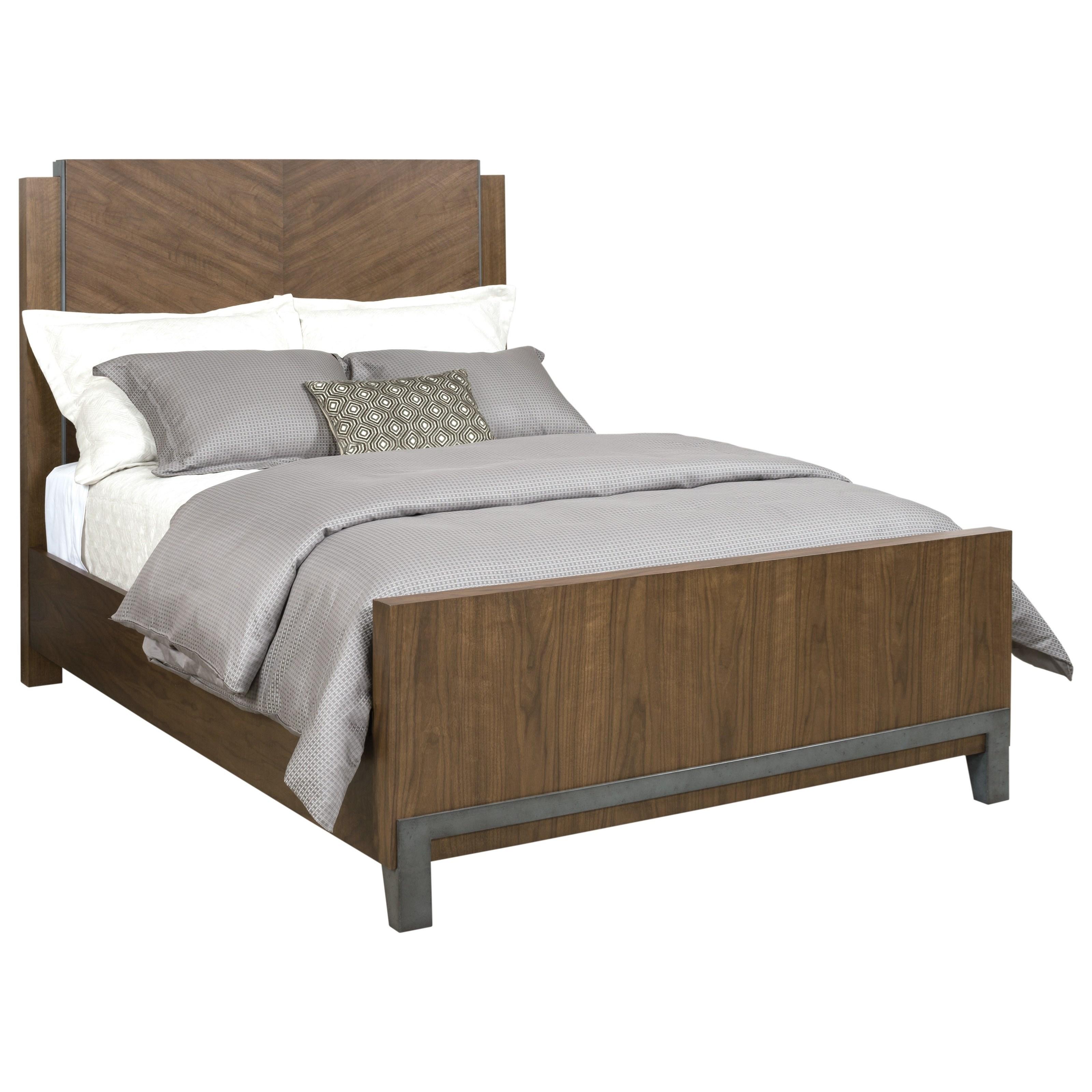 Chevron Walnut Queen Bed