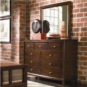 American Drew Tribecca 9 Drawer Dresser & Landscape Mirror