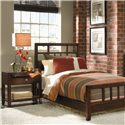 American Drew Tribecca Leg Nightstand with Pullout Tray - Shown with Twin Slat Bed