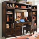 American Drew Tribecca Desk with Rollout Keyboard Drawer - Shown as part of a Bookcase and Office Wall Unit