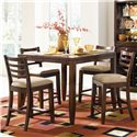 American Drew Tribecca Splat Back Bar Stool with Upholstered Seat - Shown with Counter Height Pub Table