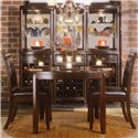American Drew Tribecca Round, Tapered Leg Formal Dining Table - Shown with Leather Side Chairs and 3 Server & Hutch sets
