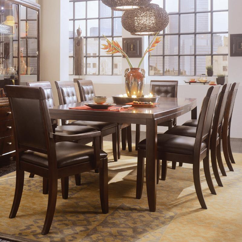 Tribecca 9 Piece Rectangular Leg Table U0026 Leather Arm And Side Chair Formal Dining  Set By American Drew