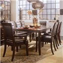 American Drew Tribecca Rectangular Leg Formal Dining Table - Shown with Leather Arm and Side Chairs