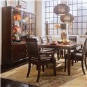 American Drew Tribecca China Cabinet with Adjustable Glass Shelves - Shown with Leg Table, Leather Arm Chairs, and Leather Side Chairs