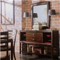 American Drew Tribecca Sideboard/Credenza with Open Shelves - Shown with Accent Mirror and Splat Side Chairs