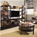 """American Drew Tribecca 1 Drawer End Table - Shown with Round Cocktail Table, Open Entertainment Unit 50"""", and Etagere Piers"""