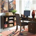 American Drew Tribecca Bookcase Console with 4 Adjustable Shelves - Shown with Leather Side Chair, File Caddy, and Desk