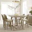 American Drew Vista 5 Piece Dining Set with Woven Stools - Item Number: 803-700+4x690