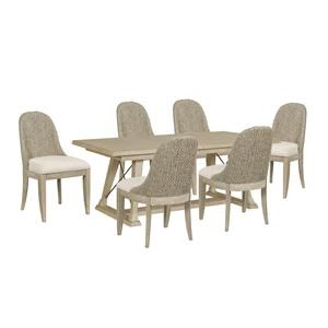 Table and Six Boca Woven Chairs