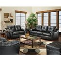 American Furniture 1250 Sofa with Pillowed Arms and Exposed Wood Feet - Shown with Loveseat