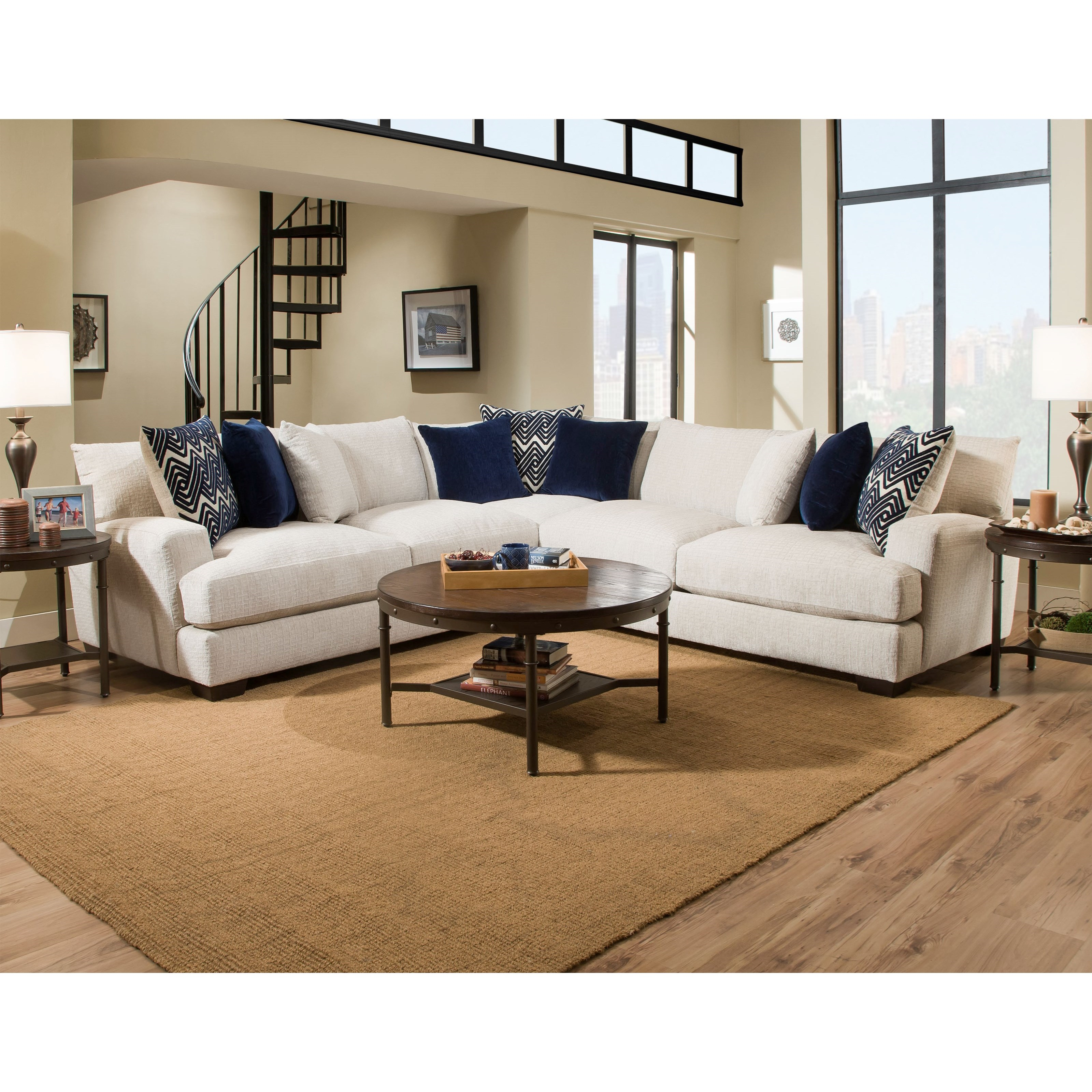 American Furniture 1600 4 Seat Sectional - Item Number: 1610+1604+1640-5440