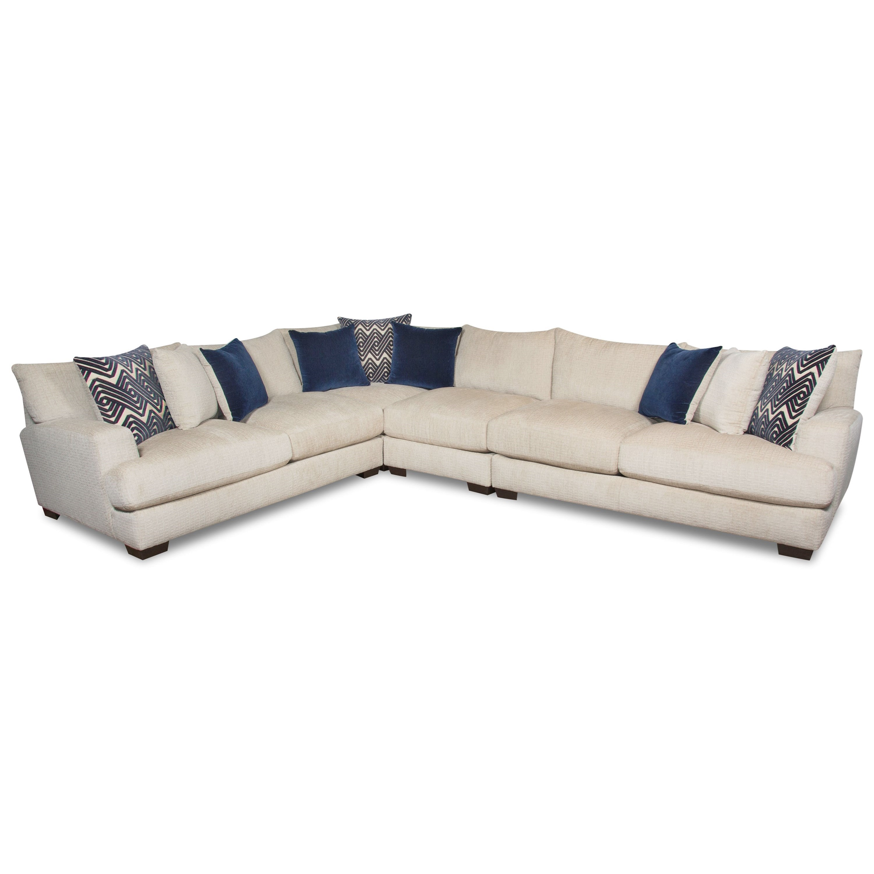 American Furniture 1600 5 Seat Sectional - Item Number: 1610+1611+1604+1640-5440