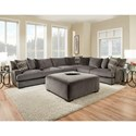 American Furniture 1600 Contemporary 5 Seat Sectional with Gel-Infused Cushions
