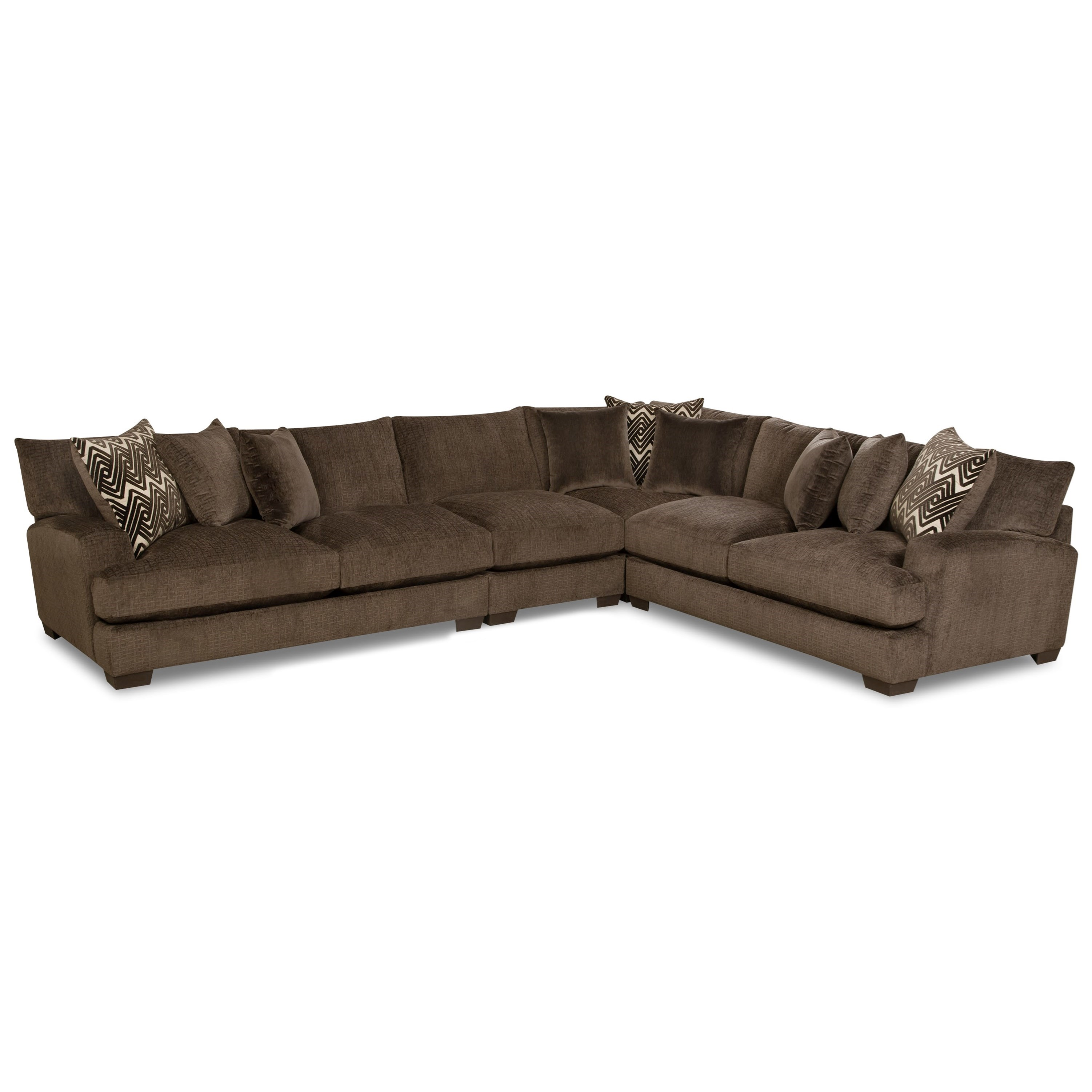 American Furniture 1600 5 Seat Sectional - Item Number: 1610+1611+1604+1640-5442