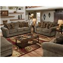 American Furniture 3700 Upholstered Stationary Sofa - Shown with Ottoman, Love Seat and Chair