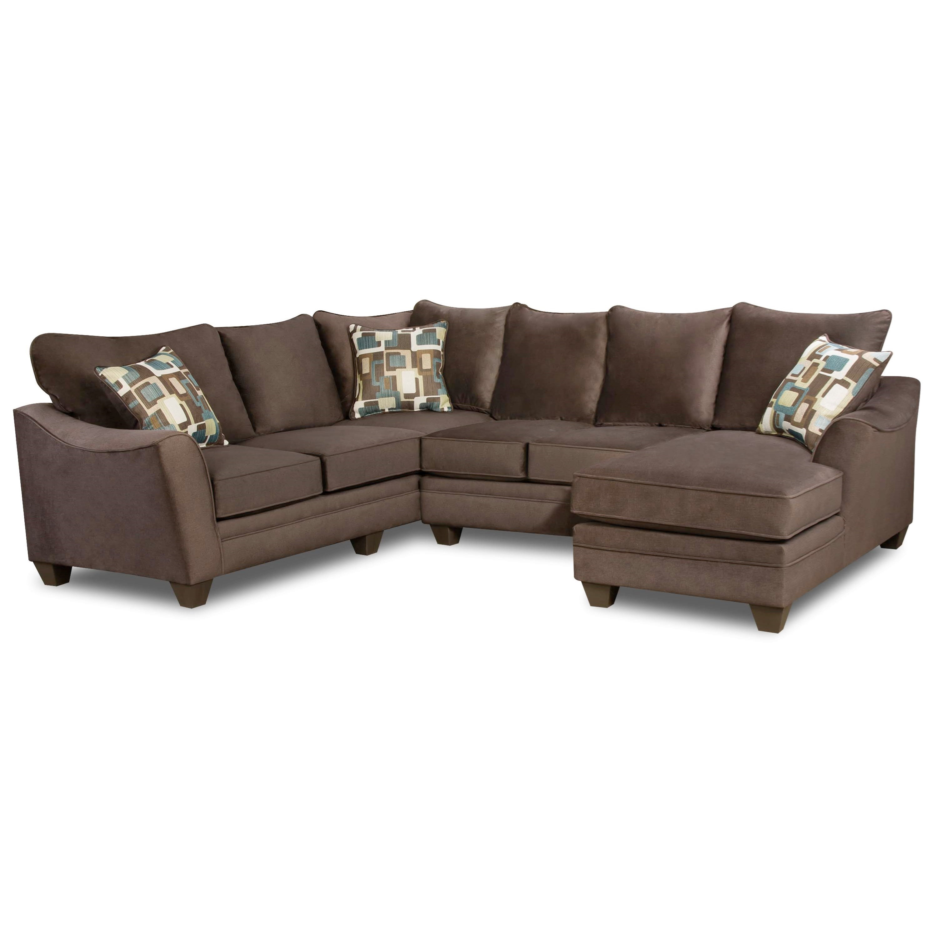 American Furniture 3810 Sectional Sofa with 5 Seats - Item Number: 3810+22+13-4041