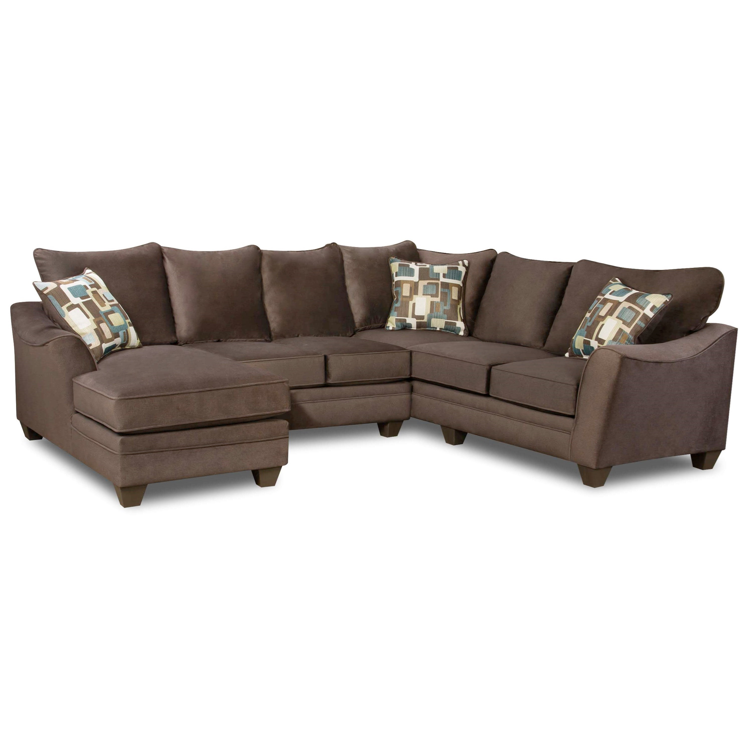 American Furniture 3810 Sectional Sofa with 5 Seats - Item Number: 3812+22+40-4041