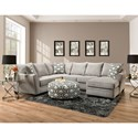 Peak Living 4810 5 Seat Sectional Sofa with Chaise - Item Number: 4810+27-2124