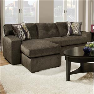 5100 Group Small Sectional Sofa with  Chaise Ottoman by American Furniture
