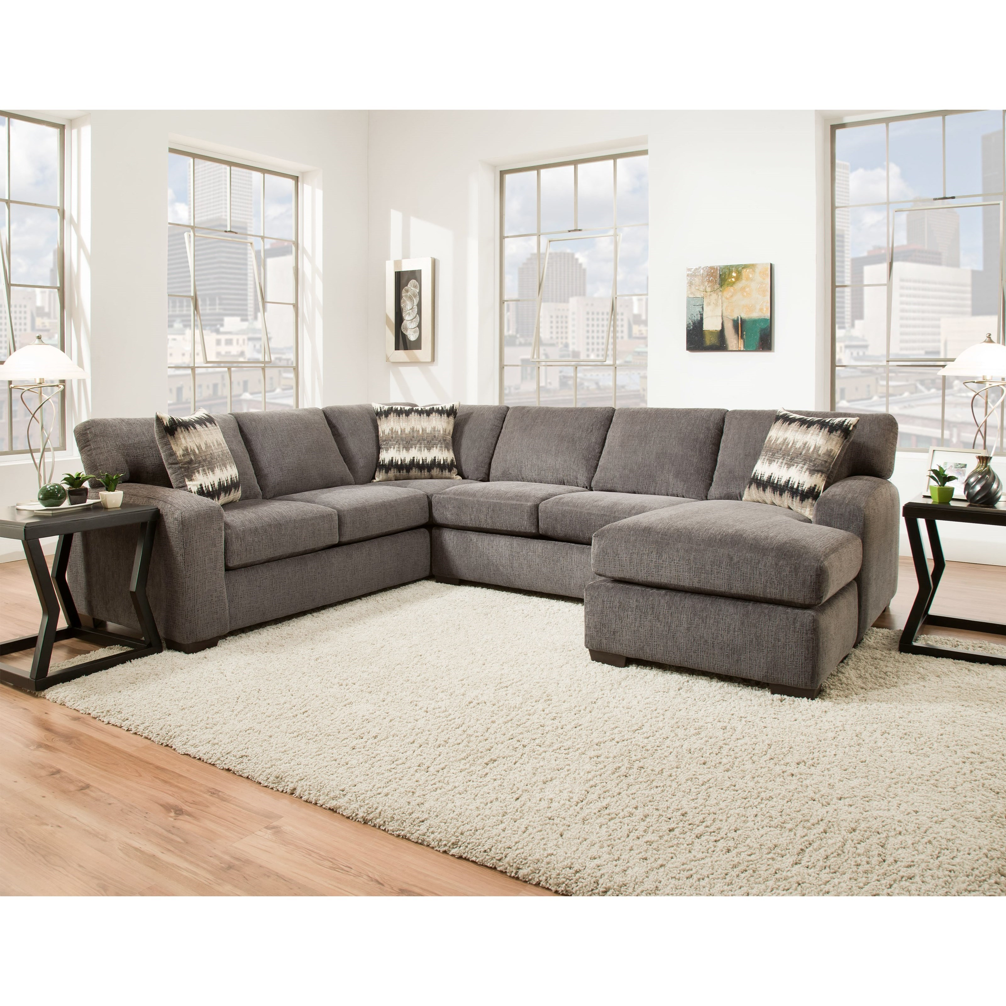 American Furniture 5250 Sectional Sofa - Seats 5 - Item Number: 5210+5230-4214