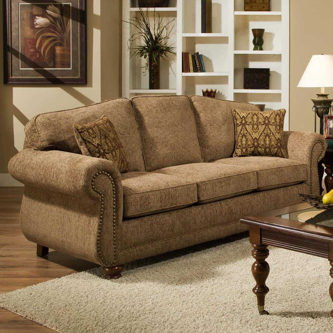 American Furniture 6000 Traditional Sofa With Nail Head Trim