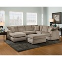 American Furniture 6800 Sectional Sofa with Left Side Chaise - Item Number: 6820+6840-1664