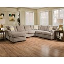 American Furniture 6800 Sectional Sofa with Left Side Chaise - Item Number: 6820+6840-4213