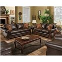 American Furniture 6900 Upholstered Loveseat with Exposed Wood Frame - 6902 4850 - Shown with Coordinating Collection Sofa