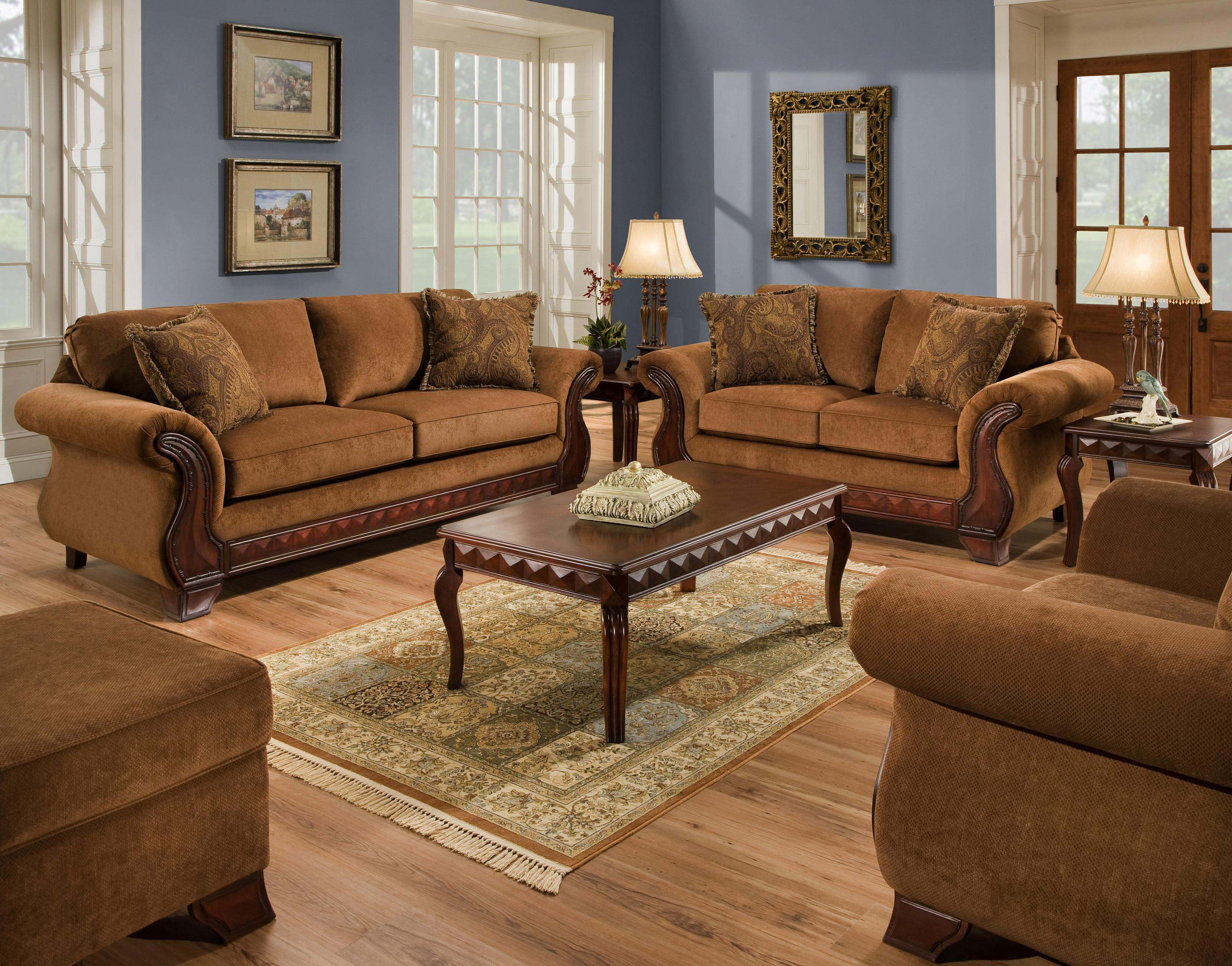 American Furniture 6900 Upholstered Loveseat With Exposed Wood Frame Prime Brothers Furniture