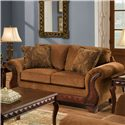 American Furniture 6900 Upholstered Loveseat with Exposed Wood Frame - 6902 T