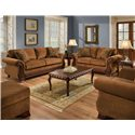 American Furniture 6900 Upholstered Loveseat with Exposed Wood Frame - 6902 T - Shown with Sofa