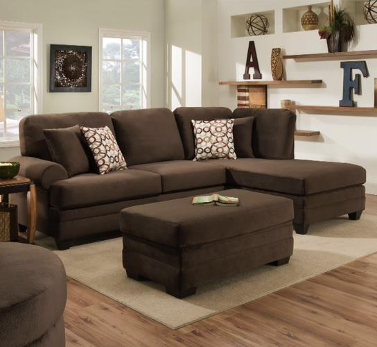 American Furniture 7000 Three Seat Sectional with Rounded Arms - Item Number: 7010+7040-5980