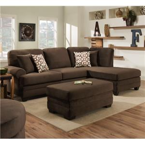American Furniture 7000 Three Seat Sectional with Rounded Arms