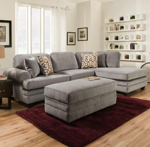 American Furniture 7000 Three Seat Sectional with Rounded Arms - Item Number: 7010+7040-5984