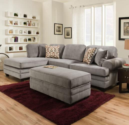 American Furniture 7000 Three Seat Sectional with Rounded Arms - Item Number: 7020+7030-5984